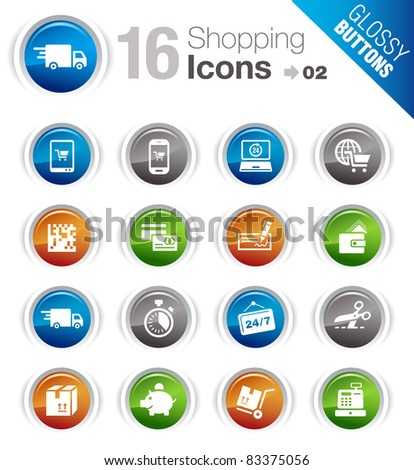 Glossy Buttons - Shopping icons - stock vector