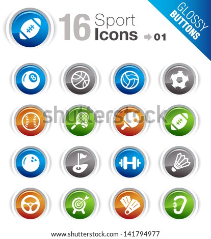 Glossy Buttons - Sport icons - stock vector
