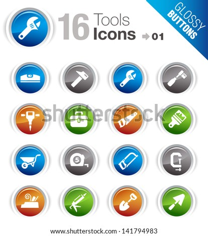 Glossy Buttons - Tools and Construction icons - stock vector