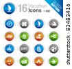 Glossy Buttons - Vacation icons - stock vector