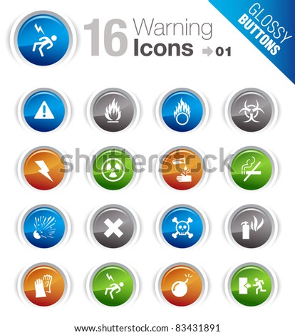Glossy buttons - Warning icons - stock vector