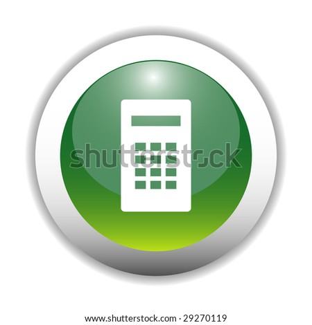 Glossy Calculator Sign Button - stock vector