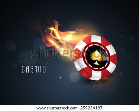 Glossy casino chip in flame on shiny blue background. - stock vector