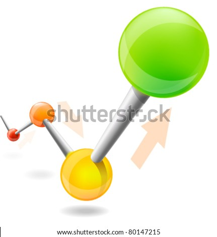 Glossy chart illustration isolated on white background - stock vector