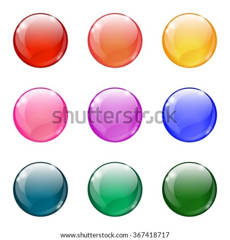 Glossy colored web buttons/balls on white background. Eps10. - stock vector