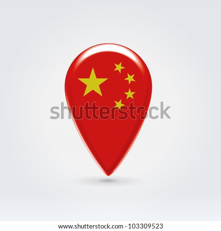 Glossy colorful China map application point label symbol hanging over enlighted background - stock vector