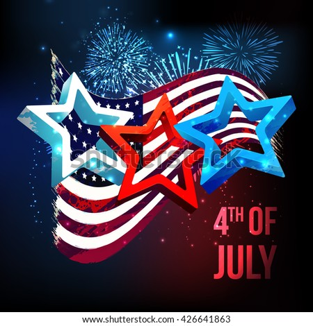 Glossy 3D Stars on waving American Flag, fireworks decorated background for 4th of July, Independence Day celebration. - stock vector