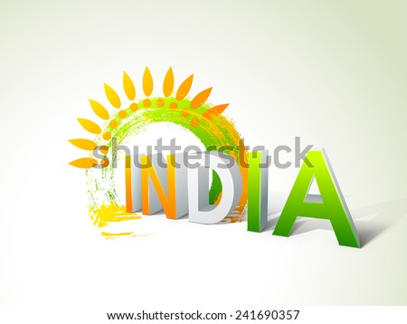 Glossy 3D text India in national tricolor with floral design and paint stroke for Indian Republic Day celebrations. - stock vector