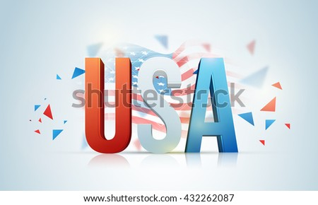 Glossy 3D Text U.S.A in American Flag colors on waving flag background for 4th of July, Independence Day celebration. - stock vector