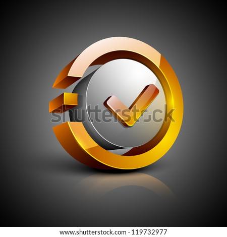 Glossy 3D web 2.0 check mark validation symbol icon set. EPS 10. - stock vector