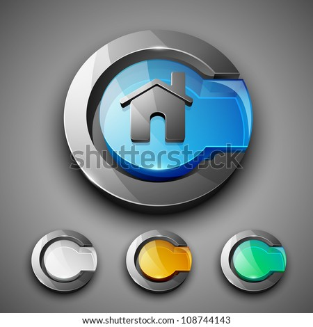 Glossy 3D web 2.0 home or homepage symbol icon set. EPS 10. - stock vector