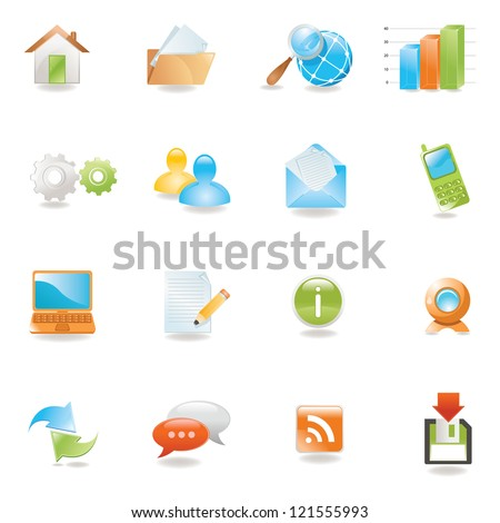 Glossy 3 D web icons set - stock vector