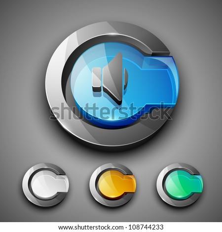 Glossy 3D web 2.0 sound symbol icon set. EPS 10. - stock vector