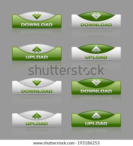 Glossy download and upload buttons useful for web design purposes - stock vector