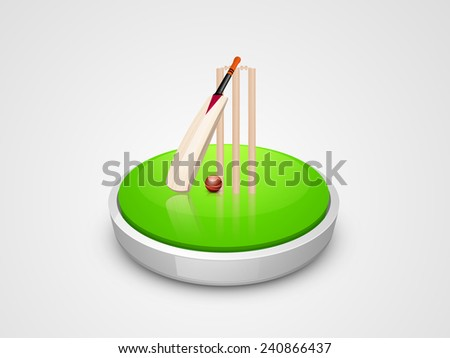 Glossy field stage ready for match with bat, ball and wicket stumps on grey background. - stock vector