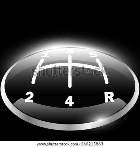 Glossy gearbox grip on the black background - stock vector