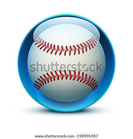 Glossy Glass sports icon with a baseball ball. Button for a site or application. Vector illustration. Isolated on white background. - stock vector