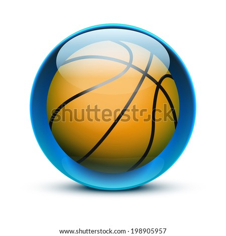 Glossy Glass sports icon with a basketball ball. Button for a site or application. Vector illustration. Isolated on white background. - stock vector