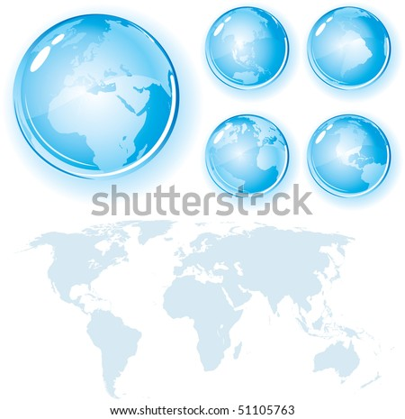 Glossy Globes Set with World Map Silhouette - detailed vector design elements - stock vector