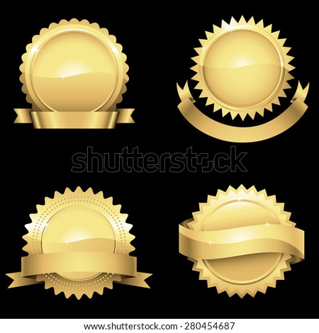 Glossy Gold Seals - Set of 4 different glossy gold seals with banners.  Colors are just a few global swatches, so they can be modified easily.  - stock vector