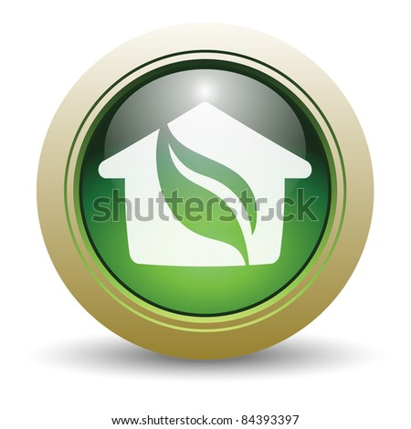 Glossy Green House Vector Illustration with Leaf and Home. - stock vector