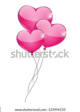 Glossy heart balloon isolated on white - stock vector