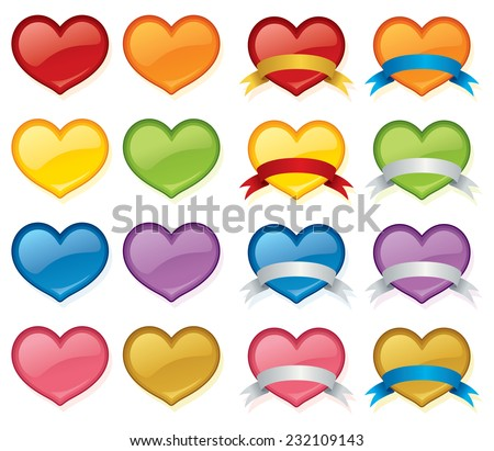 Glossy hearts with and without banners in a variety of colors. Switch hearts under banners for different color combos. - stock vector