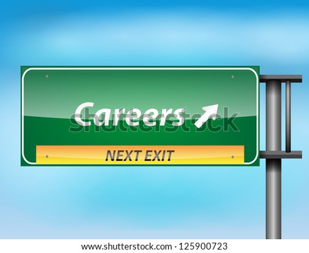 Glossy highway sign with Careers text on a blue background. - stock vector