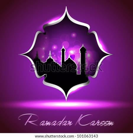 Glossy icon of Mosque or Masjid  with  Ramadan Kareem text on modern floral background in purple color. EPS 10. Vector Illustration. - stock vector
