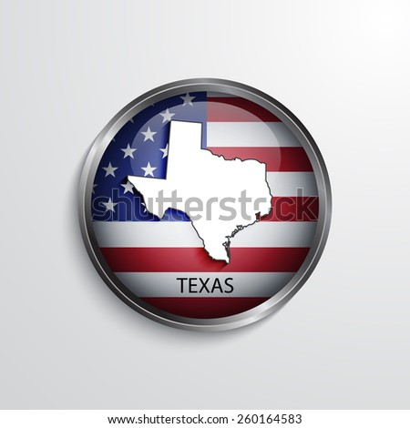 Glossy icon with map of Texas. EPS10 vector - stock vector