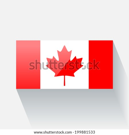 Glossy icon with national flag of Canada. Correct proportions and color scheme. - stock vector