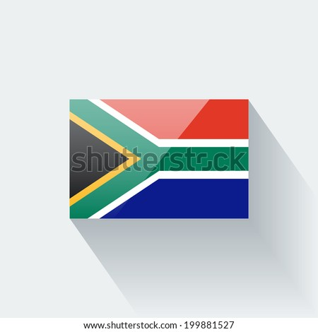 Glossy icon with national flag of South Africa. Correct proportions and color scheme. - stock vector