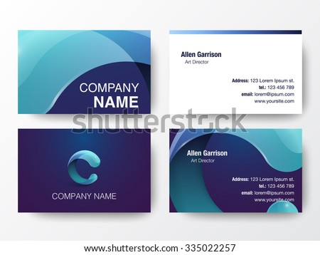 Glossy logo design on business cards template. Letter C icon. Vector illustration.  - stock vector