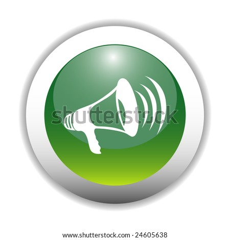 Glossy Megaphone Icon Button - stock vector