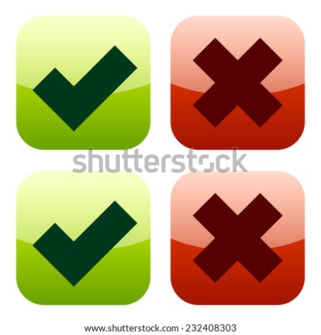 Glossy modern icons, bold checkmark and cross set - stock vector