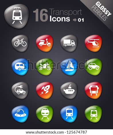 Glossy pebbles - Transportation icons - stock vector
