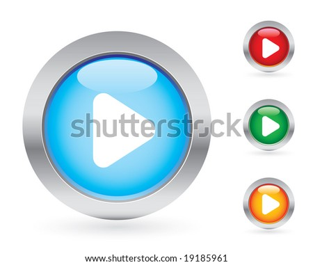Glossy play button set - stock vector