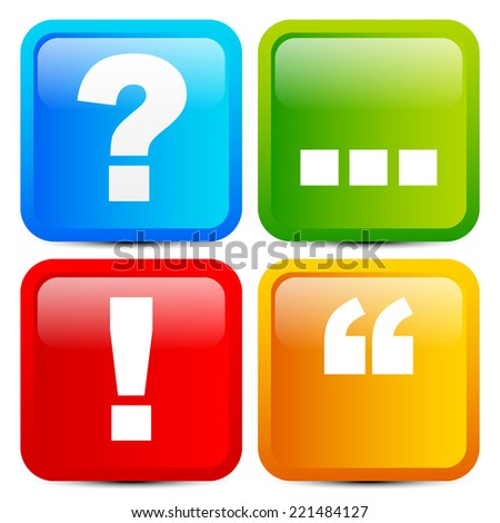 Glossy punctuation mark icons - stock vector