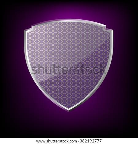 glossy purple shield symbol vector illustration eps 10 - stock vector