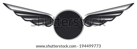 glossy racing shield with wings - stock vector