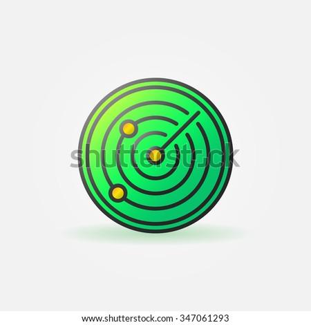 Glossy radar green icon - vector sonar colorful sign or logo - stock vector