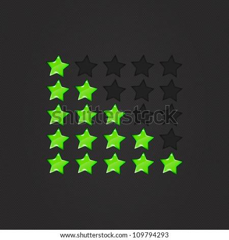 Glossy Rating Stars Green, Rating stars for web. vector illustration, eps10 - stock vector