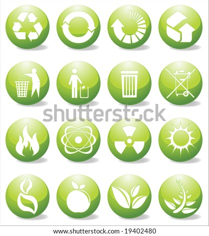 Glossy recycle icons vector illustration - stock vector