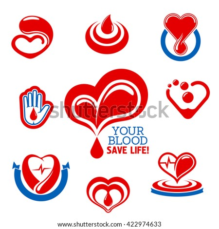Glossy red hearts icons made up of drops of blood with heartbeat lines and hand with blood drop symbol. Use as blood donation, health care and medical charity themes design  - stock vector