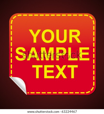 glossy red sticker with the place where You can enter Your text. Smart style - stock vector