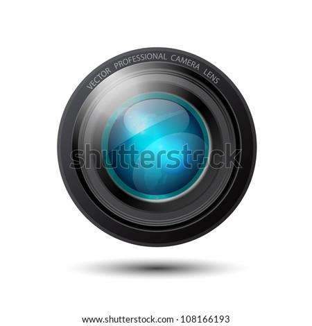 Glossy reflective vector camera lens - stock vector