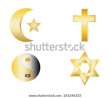 glossy religion icons vector illustration - stock vector