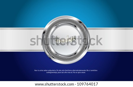 Glossy round badge of glass, metal and fabric, and wide white ribbon over a blue background background (vector) - stock vector