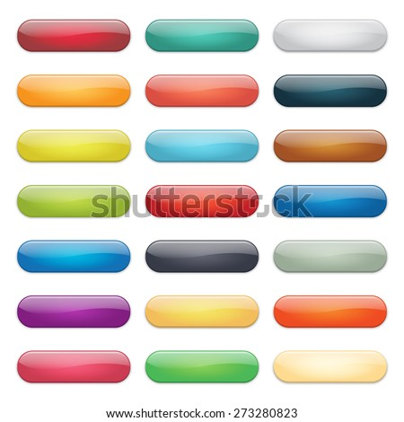 Glossy Rounded Web Buttons Set - stock vector