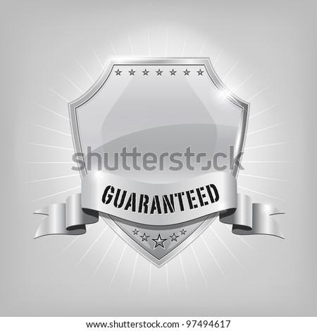 Glossy security silver shield - GUARANTEED - stock vector